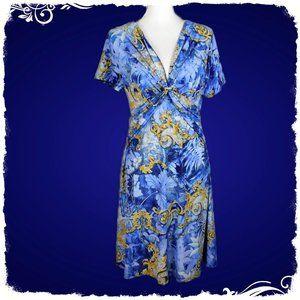 Mlle Gabrielle Blue/Gold Damask Print Dress